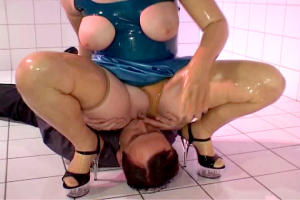 Blue rubber doll trio action 8