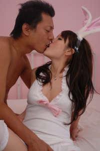 Tokyo teen cosplay Easterbunny kissing