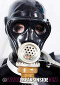 Gasmask teens in black latex look like Aliens
