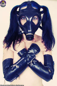 Dirty twisted Goth girl in kinky gasmask
