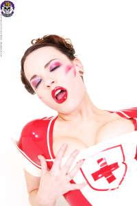 Kinky fetish nurse Heidy in rubber uniform