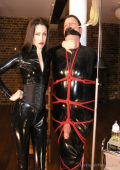 Rubber Bondage and CBT for slave