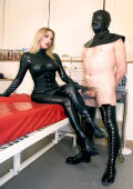 A new spunk licker for blonde Domina