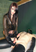Milking dick with black rubber gloves