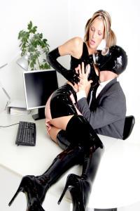 RUBBER SLUT Angela in the office