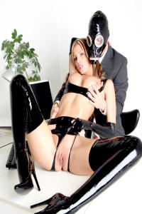 RUBBER SLUT Angela showing her pussy