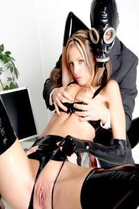 RUBBER SLUT Angela and gasmasked boss
