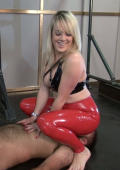 Face sitting blonde in red latex pant